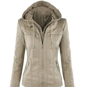 """Tan/nude """"leather"""" jacket with cotton insert!"""